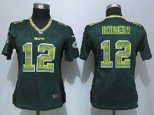 Women  Nfl Green Bay Packers #12 Aaron Rodgers Green Strobe Elite Jersey
