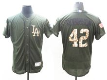 mens majestic los angeles dodgers #42 ackie robinson green fashion 2016 memorial day Flex Base jersey