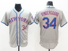 mens majestic new york mets #34 noah syndergaard gray Flex Base jersey