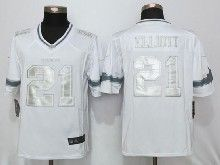 Mens Nfl Dallas Cowboys #21 Ezekiel Elliott White Platinum Limited Jerseys