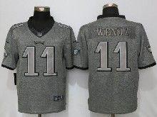 Mens Nfl Philadelphia Eagles #11 Carson Wentz Gray Stitched Gridiron Limited Jersey