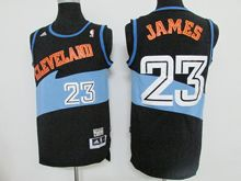 Mens Nba Cleveland Cavaliers #23 Lebron James Dark Blue&light Blue (orange Name) Hardwood Classics Jersey