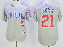mens majestic chicago cubs cubs #21 sammy sosa gray Flex Base jersey