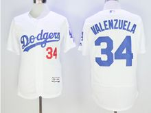 mens majestic los angeles dodgers #34 fernando valenzuela white Flex Base jersey