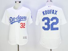 mens majestic los angeles dodgers #32 sandy koufax white Flex Base jersey