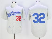 Mens Mlb Los Angeles Dodgers #32 Sandy Koufax Gray Throwbacks Cool Base Jersey