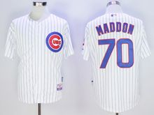 Mens Mlb Chicago Cubs #70 Joe Maddon White Stripe Cool Base Jersey