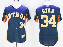 mens majestic houston astros #34 nolan ryan blue Flex Base jersey