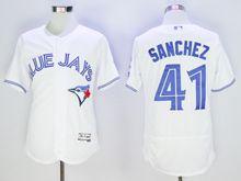 mens majestic toronto blue jays #41 aaron sanchez white Flex Base jersey