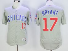 mens majestic chicago cubs #17 kris bryant gray Flex Base jersey