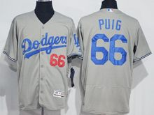 mens majestic los angeles dodgers #66 yasiel puig gray Flex Base jersey
