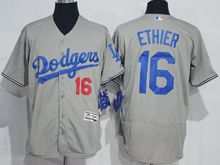 mens majestic los angeles dodgers #16 andre ethier gray Flex Base jersey
