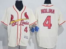 mens majestic st.louis cardinals #4 yadier molina cream white Flex Base jersey