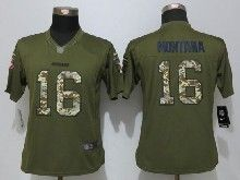 Women  Nfl San Francisco 49ers #16 Joe Montana Green Salute To Service Limited Jersey