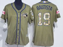 Women Mlb Toronto Blue Jays #19 Jose Bautista Green Fashion 2016 Memorial Day Jersey