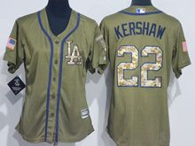 Women Mlb Los Angeles Dodgers #22 Clayton Kershaw Green Fashion 2016 Memorial Day Jersey