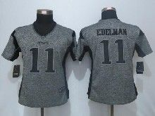 Women  Nfl New England Patriots #11 Julian Edelman Gray Stitched Gridiron Limited Jersey