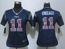 Women  Nfl New England Patriots #11 Julian Edelman Navy Blue Strobe Elite Jersey