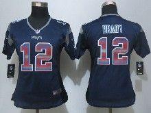Women  Nfl New England Patriots #12 Tom Brady Navy Blue Strobe Elite Jersey
