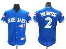 mens majestic toronto blue jays #2 troy tulowitzki blue royal fashion stars stripes Flex Base jersey