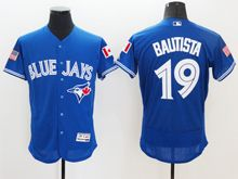 mens majestic toronto blue jays #19 jose bautista blue royal fashion stars stripes Flex Base jersey