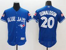 mens majestic toronto blue jays #20 josh donaldson blue royal fashion stars stripes Flex Base jersey