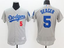 mens majestic los angeles dodgers #5 corey seager gray Flex Base jersey