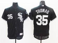 mens majestic chicago white sox #35 frank thomas black Flex Base jersey
