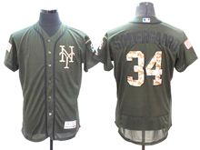 mens majestic new york mets #34 noah syndergaard green fashion 2016 memorial day Flex Base jersey