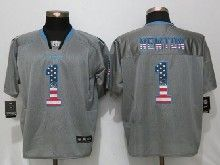 Mens Nfl Carolina Panthers #1 Cam Newton Gray Usa Flag Fashion Elite Jerseys