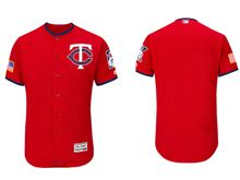 mens majestic minnesota twins blank scarlet fashion stars stripes Flex Base jersey