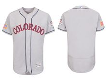 mens majestic colorado rockies blank gray fashion stars stripes Flex Base jersey