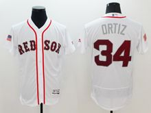 mens majestic boston red sox #34 david ortiz white fashion stars stripes Flex Base jersey