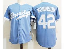 Mens Majestic Los Angeles Dodgers #42 Ackie Robinson Light Blue Cool Base Jersey