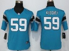Women  Nfl Carolina Panthers #59 Luke Kuechly Blue Limited Jerseys