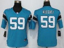 Women  Nfl Carolina Panthers #59 Luke Kuechly Blue Limited Jerseys