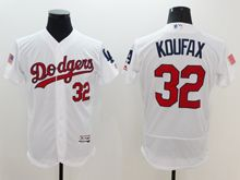 mens majestic los angeles dodgers #32 sandy koufax white fashion stars stripes Flex Base jersey