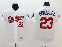 mens majestic los angeles dodgers #23 adrian gonzalez white fashion stars stripes Flex Base jersey