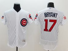 mens majestic chicago cubs #17 kris bryant white stripe fashion stars stripes Flex Base jersey