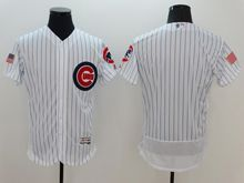 mens majestic chicago cubs blank white stripe fashion stars stripes Flex Base jersey