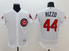 mens majestic chicago cubs #44 anthony rizzo white stripe fashion stars stripes Flex Base jersey