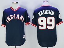 Mens Mlb Cleveland Indians #99 Ricky Vaughn Navy Blue Pullover Throwbacks Jersey