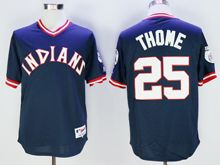 Mens Mlb Cleveland Indians #25 Jim Thome Navy Blue Pullover Throwbacks Jersey