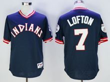 Mens Mlb Cleveland Indians #7 Kenny Lofton Navy Blue Pullover Throwbacks Jersey