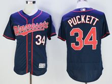 mens majestic minnesota twins #34 kirby puckett dark blue Flex Base (minnesota) jersey