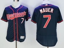 mens majestic minnesota twins #7 joe mauer puckett dark blue Flex Base (minnesota) jersey