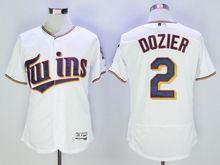mens majestic mlb minnesota twins #2 brian dozier white Flex Base jersey