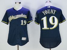 mens majestic milwaukee brewers #19 robin yount dark blue Flex Base (milwaukee) jersey