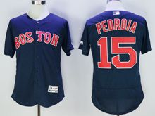 mens majestic boston red sox #15 dustin pedroia navy blue Flex Base jersey