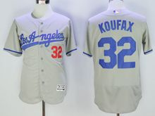 mens majestic los angeles dodgers #32 sandy koufax gray throwbacks Flex Base jersey